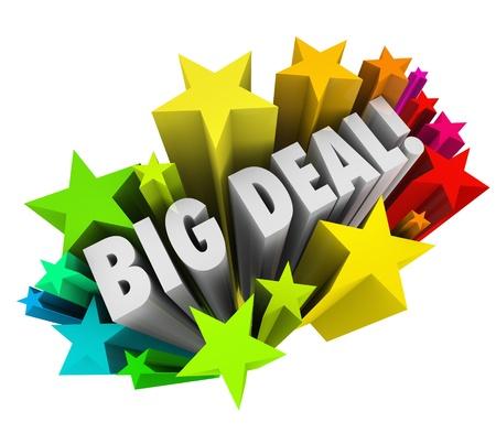 화려한 별 또는 불꽃 놀이 단어 큰 거래는 중요한 뉴스, 특별 통관 이벤트 또는 판매 또는 다른 긴급 정보의 말씀을 전파하는 스톡 콘텐츠
