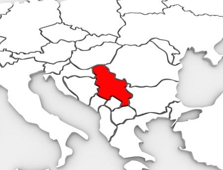 Een 3d abstracte geïllustreerde kaart van het land van Servië in de zuidelijke regio van het continent van Europa