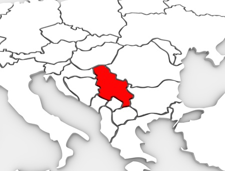Ein 3D-abstrakte Illustriert Karte des Landes von Serbien in der südlichen Region des Kontinents von Europa