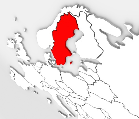 An abstract 3d illustrated map of the country of Sweden in the northern region of the continent of Europe surrounded by the nations Denmark, Finland and Norway Stock Photo - 19109718