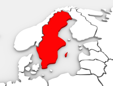map sweden: An abstract 3d illustrated map of the country of Sweden in the northern region of the continent of Europe surrounded by the nations Denmark, Finland and Norway Stock Photo