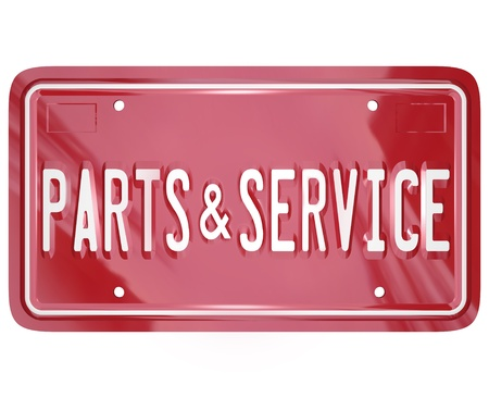 auto service: A blue license plate with the words Parts and Service to advertise a collision body shop or garage doing repair work on cars, automobiles and other vehicles in need of damage improvement