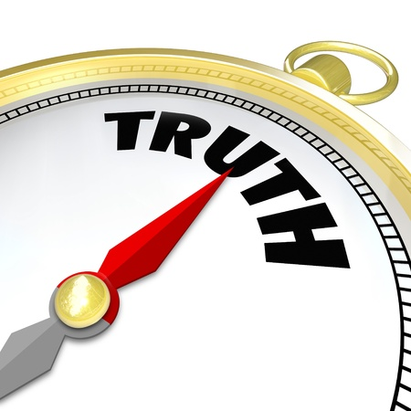honesty: The word Truth on a compass to symbolize your conscience leading you to a path of sincerity, honesty and always being true with an answer