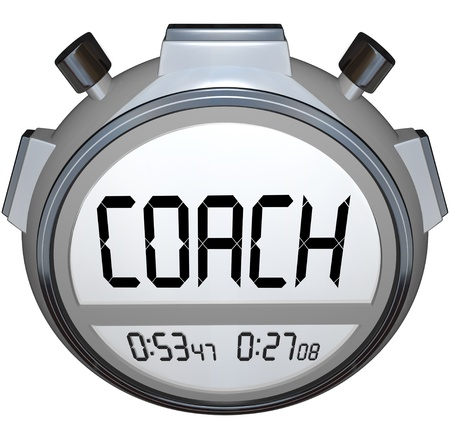 efforts: The word Coach on a stopwatch or digital timer to train you to compete and succeed in life, sports or a career