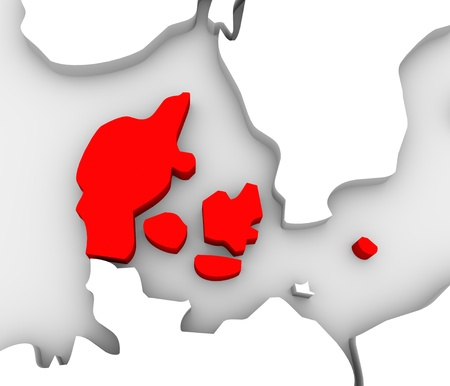 denmark: An illustrated 3d abstract map of northern Europe continent and Scandanavian countries with the country of Denmark highlighted in red Stock Photo