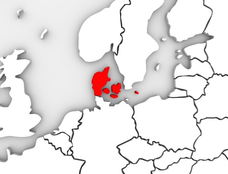 An illustrated 3d abstract map of northern Europe continent and Scandanavian countries with the country of Denmark highlighted in red Stock Photo - 19142007