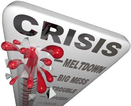 Kwik barst door de thermometer met woorden Crisis, Kernsmelting, Big Mess, Trouble, Concern en Issue te symboliseren en te waarschuwen voor een vreselijke ramp of noodsituatie