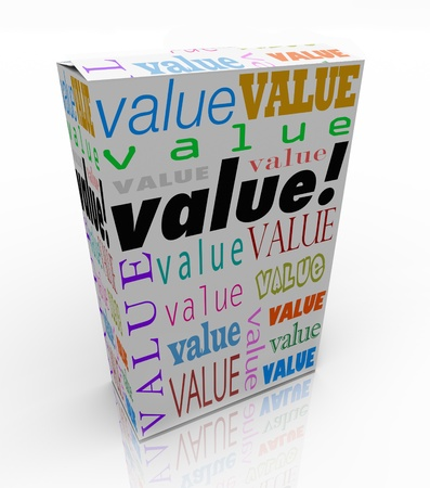 appraise: The word Value on a product box to symbolize or advertise it is the best package in terms of quality, price, and reputation of its contents