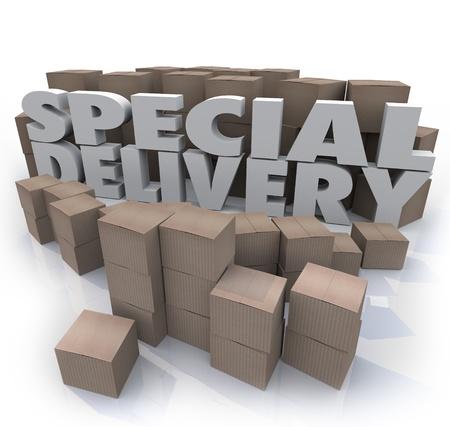 De woorden Special Delivery omgeven door kartonnen dozen in een scheepvaart en het ontvangen van magazijn of berging verzenden van uw goederen via post of koerier