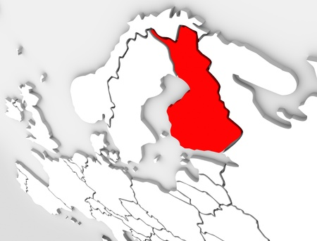 Finland country on an abstract illustrated 3d map of northern Europe continent and Scandinavia region Stock Photo - 19160834
