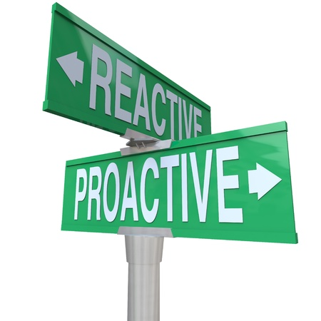passive: A two way green road sign with the words Proactive and Reactive making you choose between a life of taking charge and action toward meeting your goals or being passive and not achieving success Stock Photo
