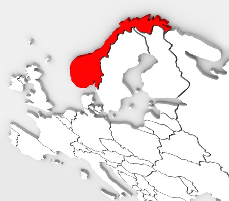 An abstract 3d map of the country of Norway highlighted in red on the continent of Europe in the northern and Scandinavian region