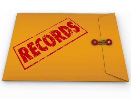 documented: A yellow envelope with red stamp and the word Records to illustrate secret or confidential information such as medical record documents Stock Photo