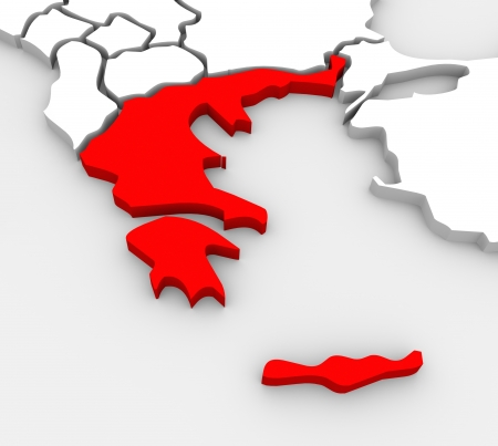 An abstract 3D illustrated map of southern Europe with Greece targeted in red