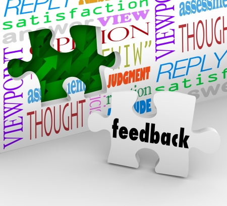 response: The word Feedback on a puzzle piece filling a hole in a wall with words like opinion, satisfaction, reply and response to symbolize customer input Stock Photo