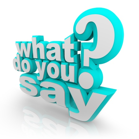 replying: The words What Do You Say and Question Mark to ask what your opinion is and survey for your feedback, opinion, comments or review