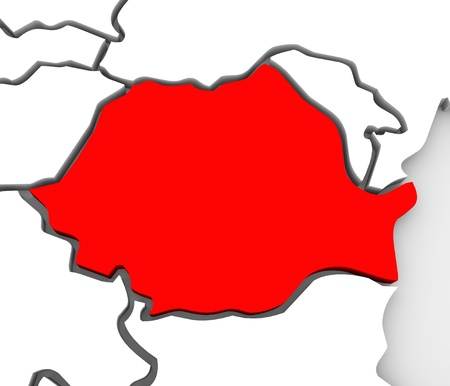 The country of Romania highlighted in red on an abstract illustrated map of the continent of Europe Imagens - 19214195