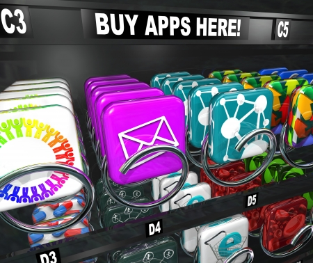 vending: A vending machine with the words Buy Apps Here and many app tiles and icons ready to be bought and downloaded to your smart phone, tablet computer or other mobile electronic device Stock Photo