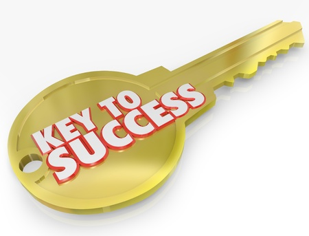 key to success: A golden metal key with the words Key to Success symbolizing the secret to a successful career or life Stock Photo