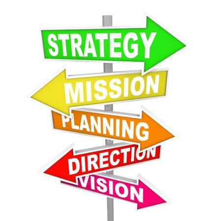 mision: La palabra estrategia, misi�n, planificaci�n, direcci�n y visi�n de colores las se�ales de tr�fico que apunta hacia un camino a seguir para el �xito y el logro de los objetivos Foto de archivo