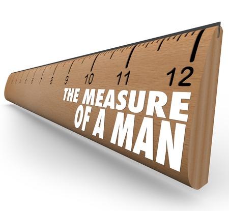 integridad: La medida de un hombre de palabras en madera cualidades que simbolizan regla y principios de una persona de éxito