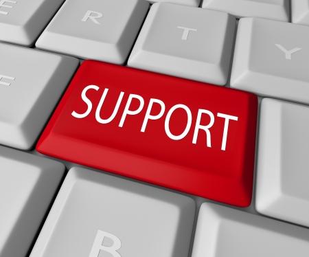 in trouble: Un teclado con una tecla roja Support lectura para conectarse a un foro cliente o mesa de ayuda o servicio t�cnico para responder a su pregunta o resolver su problema