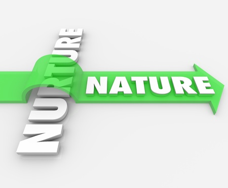 The word Nature on an arrow jumping over the term Nurture to symbolize how one's genetic coding takes precedence over surroundings and society influences Archivio Fotografico