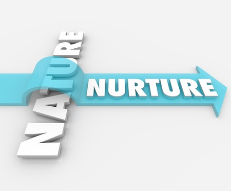 behavioral: The word Nurture riding an arrow over Nature to symbolize the importance of parenting and societal factors in shaping who we are as people Stock Photo