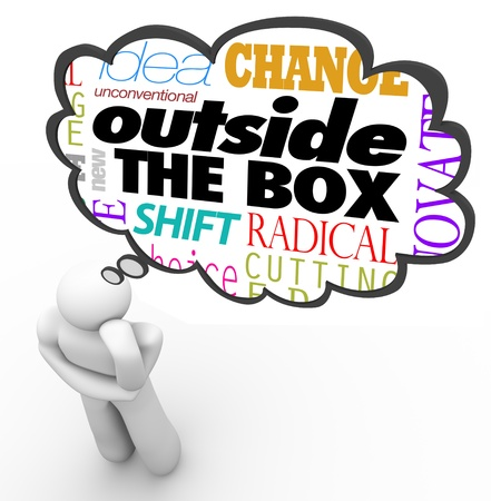 problemsolving: The words Outside the Box above the head of a thinking person in a thought cloud, along with the terms idea, unconventional, new, shift, change, innovative and creativity