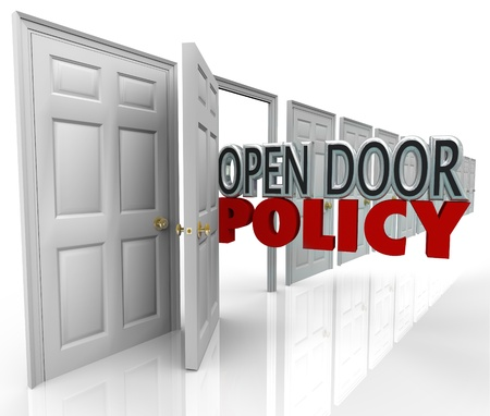 Open Door Policy words in opened doorway to symbolize and illustrate free and welcome communication between management and employees photo