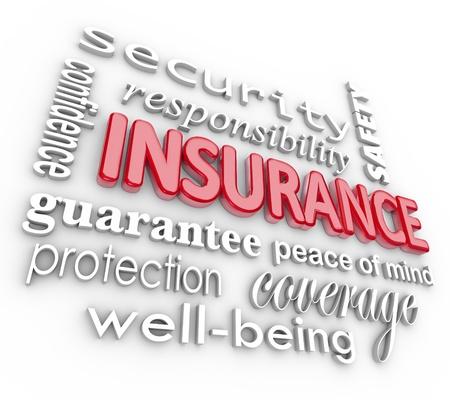 Het woord Verzekeringen en aanverwante termen als veiligheid, zekerheid, vertrouwen, zekerheid, gemoedsrust, welzijn, dekking en bescherming