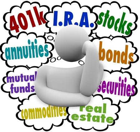 Een denkend mens vraagt zich af wat zijn de beste keuzes voor het investeren voor de toekomst, met de woorden: 401k, lijfrenten, beleggingsfondsen, IRA, vastgoed, aandelen, obligaties, effecten en onroerend goed Stockfoto