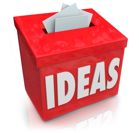 A red Ideas box for submission of creative and innovative thoughts on making a new product or process photo