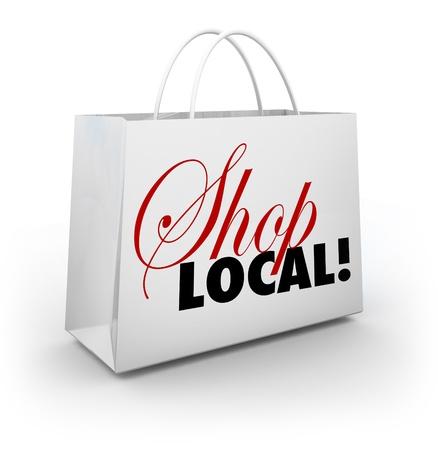 あなたの裏庭で商品を購入し、近くにお金を保つことによってあなたの地域社会や故郷をサポートすることを奨励白のショッピング バッグの店ロー
