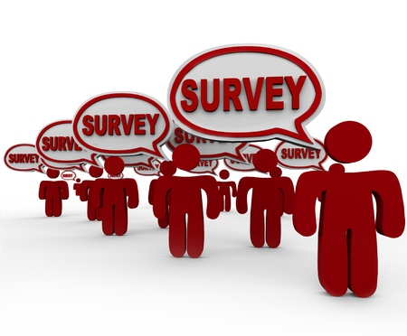 surveying: Many people or customers answering your questions with the word Survey in speech bubbles to symbolize feedback, comments and responses to a set of queries