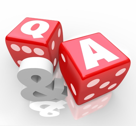 guiding: The letters Q & A on red dice to symbolize questions and answers to customer questions or assistance to frequently asked queries