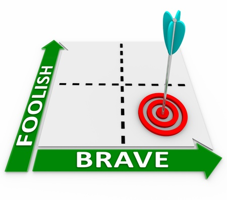 verve: Choose a brave but not foolish approach with the help of this matrix showing the best way is high on the courage arrow but low on the foolishness measurement Stock Photo