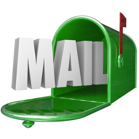 you've got mail: The word Mail in a green metal mailbox to represent delivery of a new message, letter or other form of communiation Stock Photo
