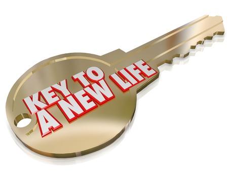 Een gouden sleutel met de woorden A New Life aan verandering, evolutie, herstart, vernieuwen en een verbeterde begin symboliseren