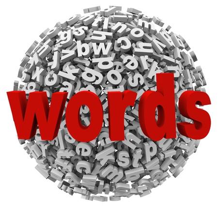 revoltijo: Una bola revoltijo de palabras y letras para representar la comunicaci�n, la escritura, el aprendizaje y las habilidades del alfabeto en la educaci�n