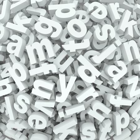 Many alphabet letters in a jumbled mess of a 3D display or background of words and messages Stock Photo