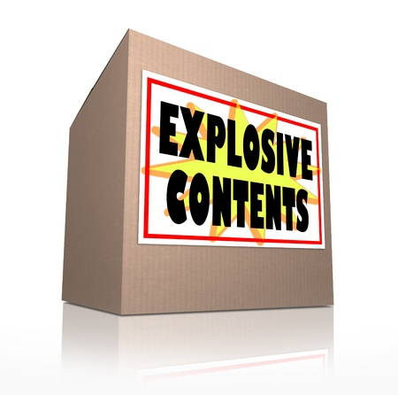 flimsy: The words Explosive Contents on a cardboard box package to illustrate or warn of the danger of a mail bomb