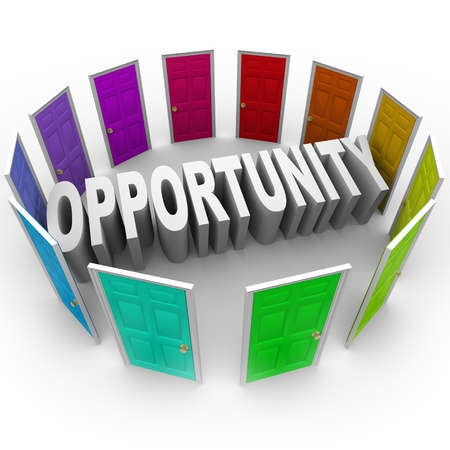 career life: The word Opportunity in 3D letters surrounded by doors of different colors to illustrate a chance for a new career, path, fortune, or big break in your job or life Stock Photo