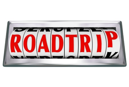 The word or words Road Trip on an odometer tracking or counting the miles on a family vacation traveling by car, truck or RV on freeway or other roads Stock Photo - 19421097