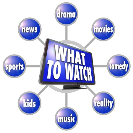 A grid of television programming suggestions surrounding a picture of an HDTV -- sports, news, movies, drama, comedy, kids, music and reality Stock Photo - 19587004