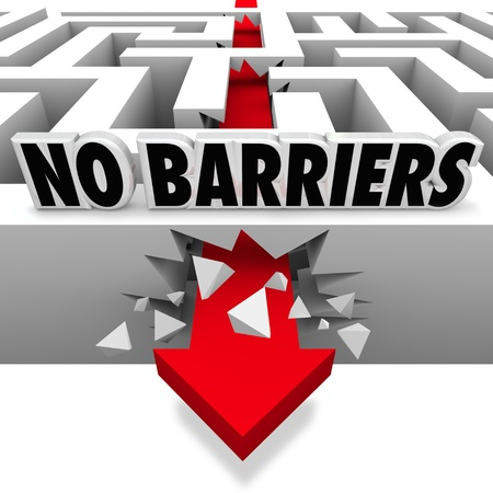 barrier: An arrow smashes through the walls of a maze or labyrinth below the words No Barriers to illustrate freedom and liberation from rules and oppression