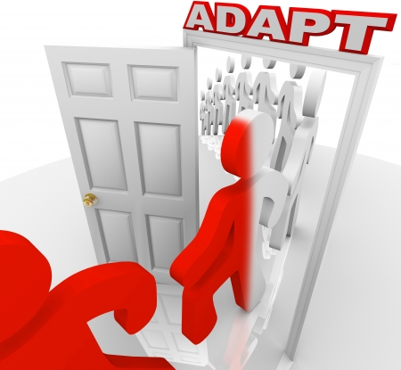Many people step through a doorway marked Adapt to illustrate changing or innovating to succeed in life or a job Stock Photo - 19587111