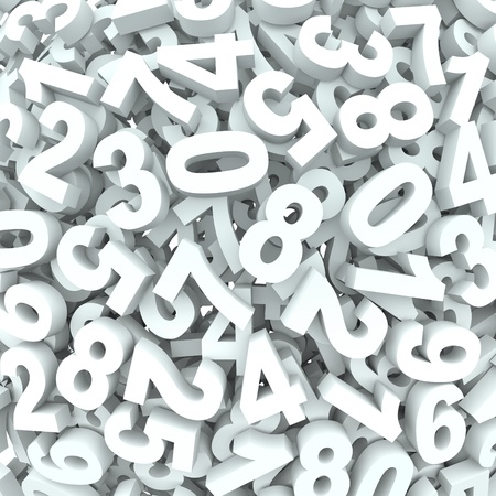 Many 3d numbers in dissarray spread out to represent chaos or learning mathematics or accounting Stock Photo - 19587115