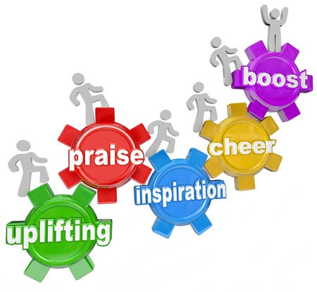 boost: The words Uplifting, Praise, Inspiration, Cheer and Boost to illustrate the achievements and improvement that a person or team of people can make when motivated and inspired Stock Photo
