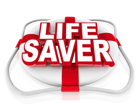 rescuing: The words Life Saver on a white 3d preserver to illustrate rescue, savior, emergency, crisis, help, aid or assistance in a time of danger or need Stock Photo